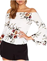 Women's Summer Off Shoulder Floral Print Blouse 3/4 Sleeve Junior Crop Tops Party Beach Club Tunic Tops