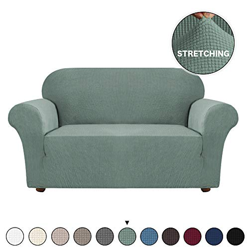 Spandex Sofa Cover/Protector Slipcover for Loveseat 2 Cushion Couch Elastic Cover 1 Piece Form Fit Furniture Protector Couch Slipcover, Anti-Slip Foam, Machine-Washable (Loveseat, Dark Cyan)