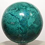 2.6'' Rich Blue Chrysocolla Sphere Natural Chalcedony Mineral Ball Polished Crystal Gemstone - Peru + Plastic Stand