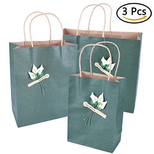 uhoMEy Pack of 3 pcs Handmade Kraft Paper Bags, Each Size Small Middle Large Shopping Gift Merchandise Retail Bags with Handles Christmas Wedding Party Gift Bags, Green Red Brown User Retail Pc