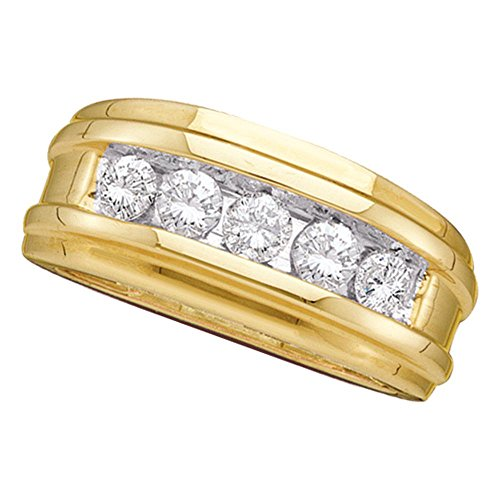(14kt Yellow Gold Mens Round Diamond Single Row Ridged Wedding Band Ring 1.00 Cttw)