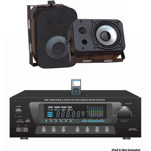 Pyle Stereo Receiver And Marine Speaker Package   PT270AIU 300 Watts Stero  Receiver AM FM Tuner, USB/SD, Ipod Docking Station U0026 Subwoofer Control    PDWR40B ...