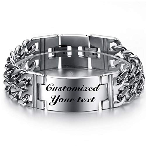 Thintom Men's ID Name Bracelet Stainless Steel Personalized Gift for Him Customized Engrave (Silver)