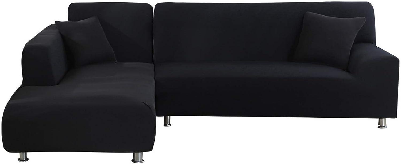 laamei Funda de Sofa Elástica Chaise Longue Brazo Largo Derecho Funda Cubre Sofá Modelo Acolchado Diseñada de Forma L 2 Piezas Protector para Sofá de Poliéster y Spandex Color Sólido