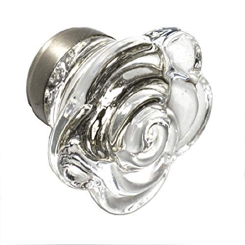 Antique Dresser Glass Handles Classic Cabinet Knobs Drawer Pulls 10 Pack T75VF Clear Rose Knob with Brushed Nickel Hardware. Romantic Decor & More