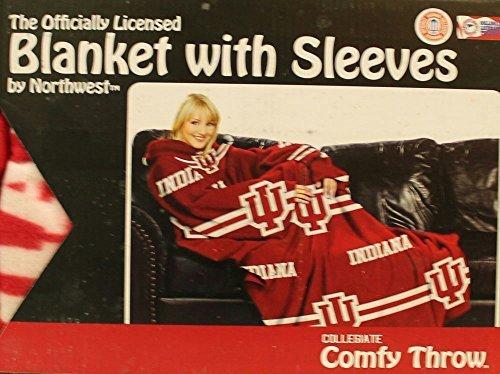 Comfy Throw Fleece Blanket with Sleeves Licensed College Emblems - Indiana Hoosiers ()