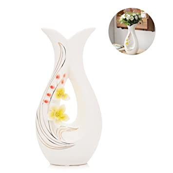 225 & Tall White Ceramic Flower Vases11.6\u0027\u0027 High Decorative Vases with Handmade Porcelain Yellow Flowers for Living Room Kitchen Table Home Office ...