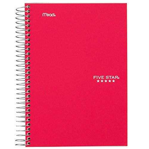 Five Star Spiral Notebook, 5 Subject, College Ruled Paper, 180 Sheets, 9-1/2