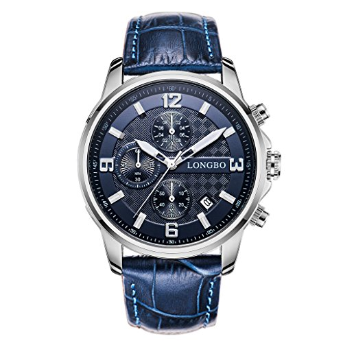 Watch Blue Face Leather Band - 6