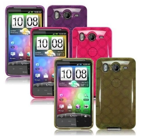 - 3 X (Purple, Hot Pink, Smoke) Color TPU Circle Design Rubber Case/ Protector For HTC Inspire 4G/ Desire HD