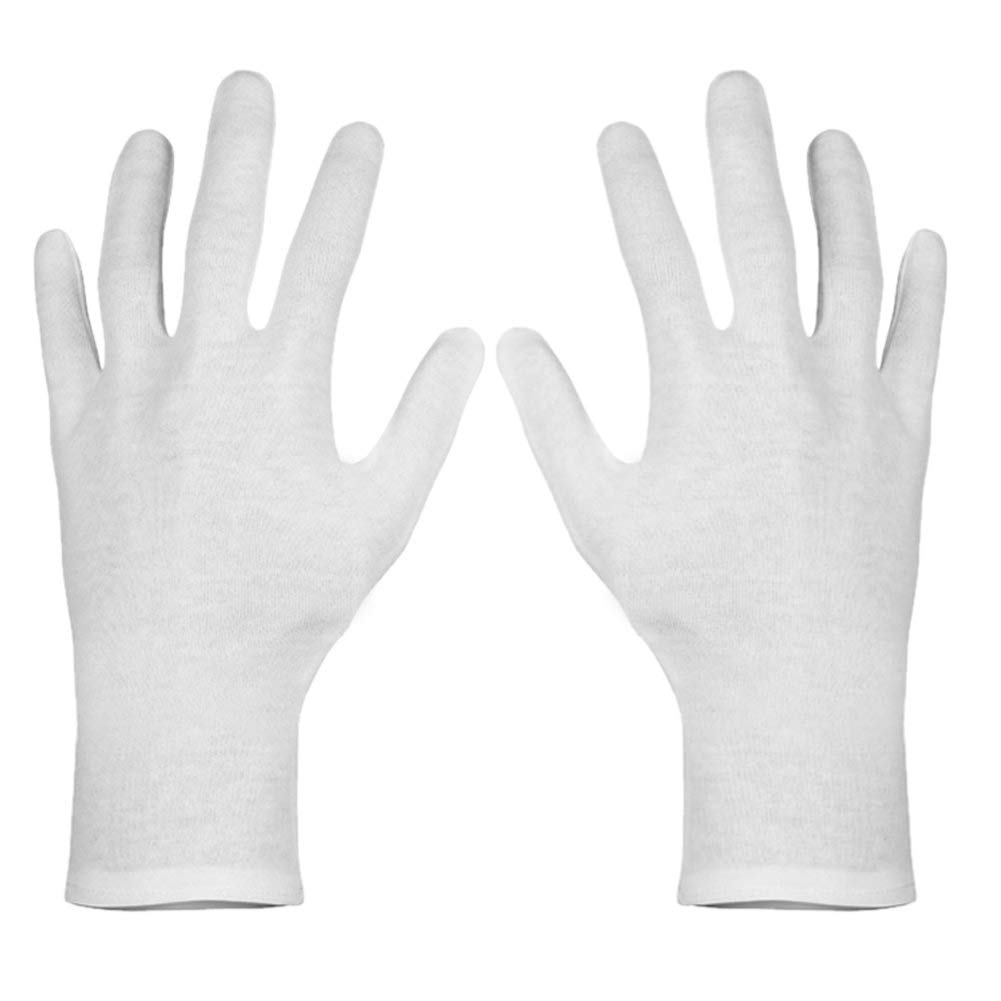 Paxcoo 6 Pairs XL White Cotton Gloves for Dry Hand Moisturizing Cosmetic Eczema Hand Spa and Coin Jewelry Inspection