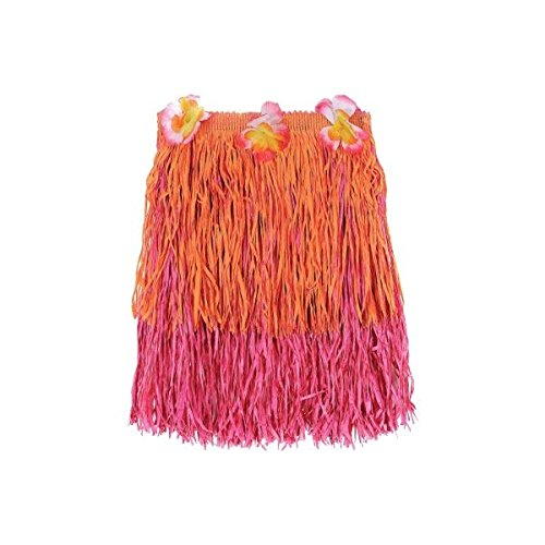 Child Two Tone Pink and Orange Grass Skirt, 1 Piece, Made from Plastic, Pink & Orange, 12