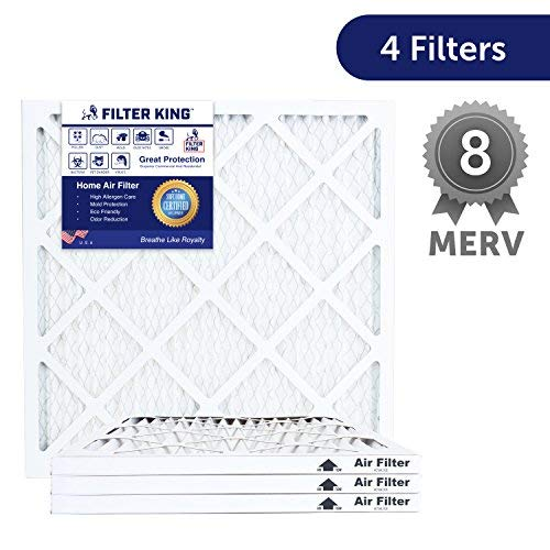 Filter King 13x25x1 HVAC Pleated Air Filter, MERV 8 Filter Rating, Protection Against Inhalable Particles Such as Mold and Pollen, Allergen Reduction, Increases Air Quality, 4 PK by Filter King