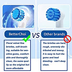 Compatible Oral b Sensitive Gum Care Replacement Brush Heads - for Oral b Electric Toothbrush,6 Pack. Ideal for Sensitive Gums and Teeth. Soft Bristle for a Superior and Gentle Clean