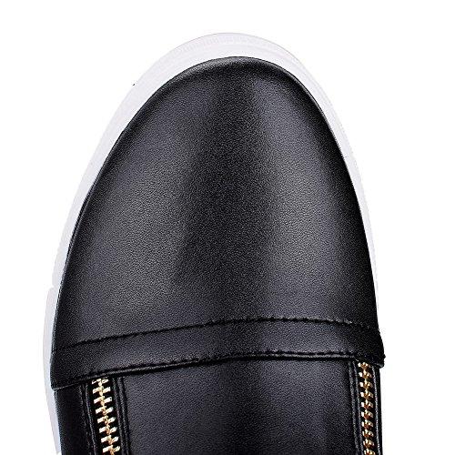 Amoonyfashion Womens Rits High-heels Gemengd Materiaal Geassorteerde Kleur Lage Laarzen Zwart