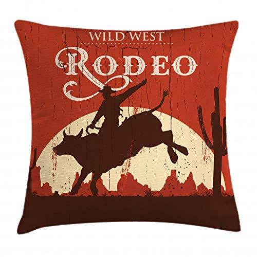"Ambesonne Vintage Throw Pillow Cushion Cover, Rodeo Cowboy Riding Bull Wooden Old Sign Western Style Wilderness at Sunset Image, Decorative Square Accent Pillow Case, 16"" X 16"", Redwood Orange"
