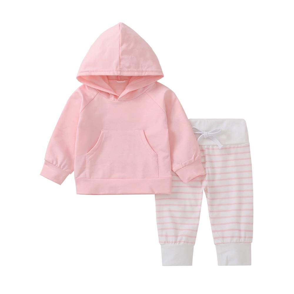 Zerototens Baby Clothing Set, 0-18 Months Newborn Baby Boy Girl Long Sleeve Solid Hooded Tops Sweatshirt and Striped Pants 2Pcs Children Outfits Set Child Tracksuit Infant Sleepwear