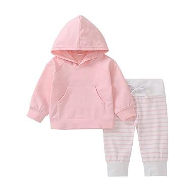 Baby Boys Clothes Set,Zerototens Newborn Infant Baby Boys Long Sleeve Red Plain Hooded Top Sweatshirt+Striped Pants 2Pcs Boy Outfits Set 0-24 Months Child Sleepwear