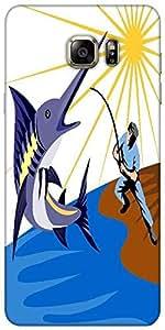 Snoogg Marlin Azul Peces Saltando Retro Diseñador Funda Protectora De La Cont...