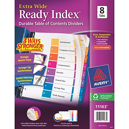 Avery(R) ExtraWide™ Ready Index(R) Table Of Contents Dividers, 1-8 Tabs, Multicolor ()