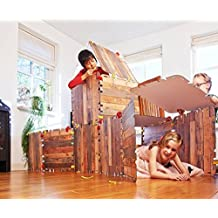 Fantasy Fort Kit Creative Pretend Play Construction Building Set Kids Indoor Playhouse Heavy Duty Cardboard Carton Faux Wood Panels Velcro Connectors, Each Panel 22 x 22 Inches, 16 Pieces