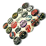 """Custom & Novelty {1"""" Inch} 20 Bulk Pack, Mid-Size Button Pin-Back Badges for Unique Clothing Accents, Made of Rust-Proof Metal w/ 1970s Rock n Roll Singers Different Set Bands Styles [Multicolor]"""