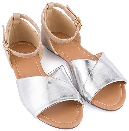 Gallery Seven Open Toe Flats Shoes - Ankle Strap Peep Toe Dress Sandals
