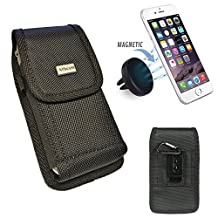Samsung GALAXY S7 S6 S5 Active ~ TOUGH Black Nylon Canvas Pouch Holster w/ Metal Belt Clip+Hook+Magnetic Air Vent Car Mount Holder [Fits with OTTERBOX/LIFEPROOF/UAG case](Pouch+Car Mount)
