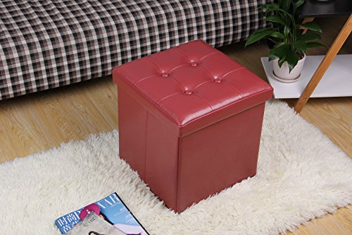 "Fsobellaleo Faux Leather Folding Storage Ottoman Toy Chest for Baby Wine Red12.6""x12.6""x12.6"""