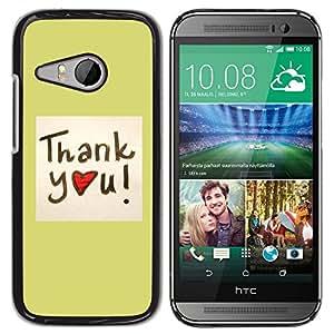 YiPhone /// Prima de resorte delgada de la cubierta del caso de Shell Armor - Thank You Heart - HTC ONE MINI 2 / M8 MINI