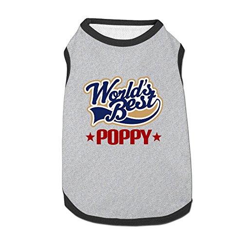 (World Best Poppy Pet Dog 100% Fleece Vest Tank Top Ash Large)