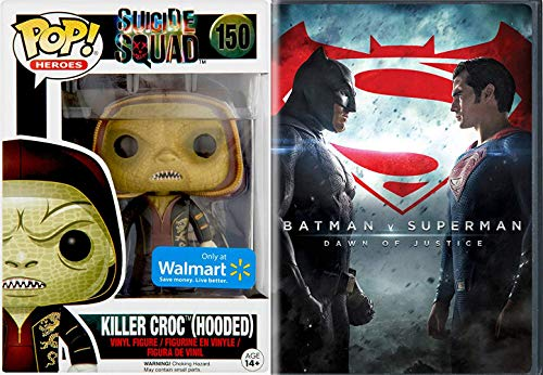 SUperBAt Killer Croc DC Villain Figure + Batman V Superman DVD Movie vinyl exclusive pop heroes series Dawn of Justice