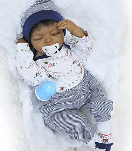 - Sleeping Reborn Baby Dolls Boys African American Boy Black Doll 22inch 55cm Silicone Babies Eyes Closed Realistic Cute Doll Handmade Weighted Body