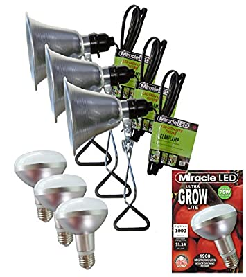 MiracleLED 604972 Commercial Hydroponic Green House LED Bulbs with Clamp Light Fixtures (3 Pack)