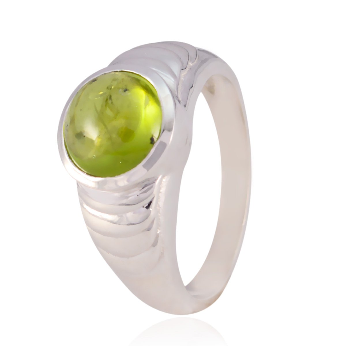 925 Silver Green Peridot Nice Gemstone Ring jents Jewelry Items Gift for mom raw Stone Ring Nice Gemstone Round cabochon Peridot Rings