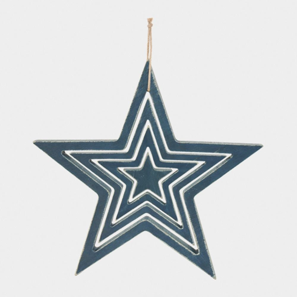 East Of India Hanging Wooden Outline Star Navy Set of 4 Home Decoration by East Of India (Image #3)