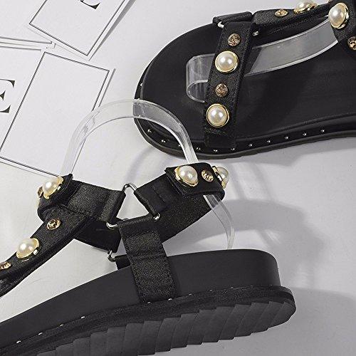 EU de de Planas YMFIE Las de Rhinestone Inferiores 35 Sandalias señora 37 Libre Manera Aire la Zapatos cómodas al la del UE x40w0qnA1