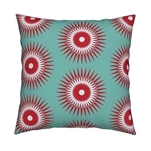 Roostery Holiday Christmas Ornament Starburst Modern Blue Red Eco Canvas Throw Pillow Cover Holiday Starburst Red + Blue by Fable Design Cover w Optional - Ornament Starburst Blue