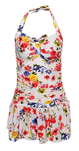 Uget Women's One Piece Floral Ruched Halter Push Up Slim Tummy Control Tankini Swim Dress-Red
