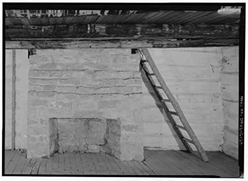 Vintography 8 x 12 Photo 20. Interior South Room, Close View Stone Fireplace Log Ladder Stair - The Hermitage, Alfred's Cabin, 4580 Rachel's Lane, Hermitage, Davidson County, TN 1854 38a by Vintography