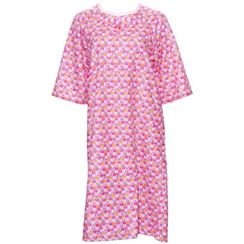 (Adaptive Shoulder-Wrap Hospital Style Flannel Nightgown (M, Assorted Prints))