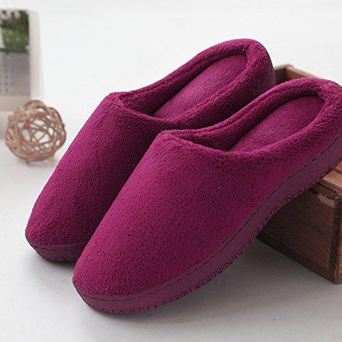 Habuji autunno inverno home pantofole di spessore antiscivolo interni caldi home scarpe di cotone, 38/39, rosso