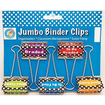Dots Class Management Jumbo Binder Clips