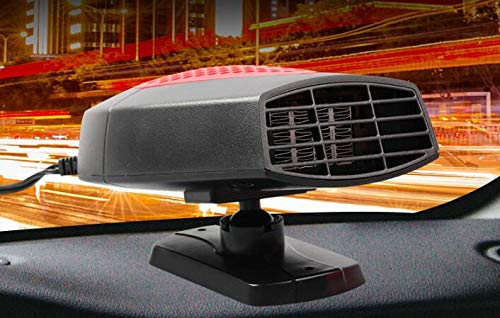 Red Ferryone Portable Car Heater,Auto Heater Fan,Car Defogger Fast Heating Quickly Defrosts Defogger 12V 150W Auto Ceramic Heater Fan 3-Outlet Plug in Cig Lighter