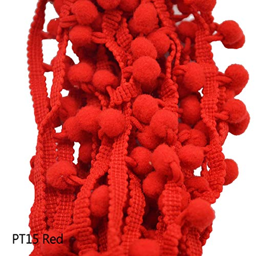 Yalulu 20Yards Mini Pom Pom Trim Ball Fringe Ribbon DIY Sewing Accessory Lace Trim for Pillow Curtains Home Decoration (Red)