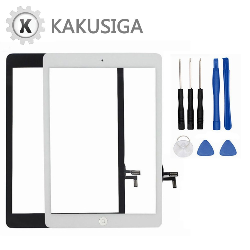 Kakusiga for iPad Air (5th Generation) Touch Screen Glass Digitizer Replacement, Home Button Flex, Adhesive Tape, Screen Protector and Repair Tools kit (Black)