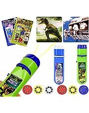 Zaklamp Kinderen, kinderen Projector Zaklamp Kleine diavoorstelling Dinosaurussen + ruimte, voor kind Good Night Story Beamer-speelgoed (48 foto's, 6 diaschijven)