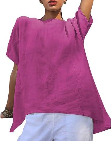 Hibote Camisas de Cuello Redondo Sueltas para Mujer Tops de ...