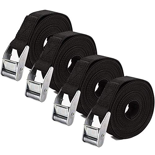 (YOULERBU Tie Down Straps, Heavy Duty Lashing Straps Adjustable Cam Buckle Tie-Down Straps for Motorcycle, Boat, Trailer, Trucks, Cargo, Car, SUP Kayak, Luggage - 2 Pack)