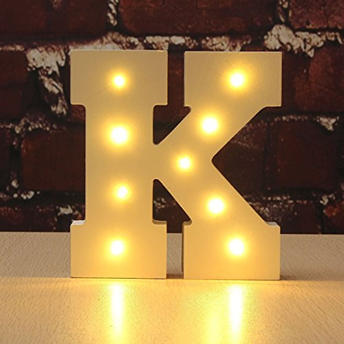 - CHUQ Light Up Letters Wooden Alphabet A-Z Gift Boxed Name Wedding Party Standing or Wall Mounted Decoration (K)